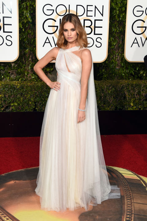 Lily James Golden Globes Marchesa