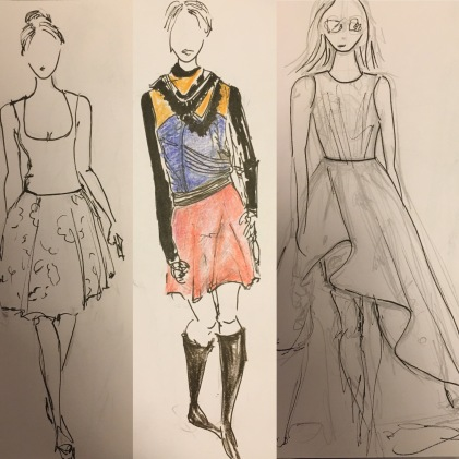 Oscar de la Renta, Tory Burch and Monique Lhullier- sketches straight from my sketchbook
